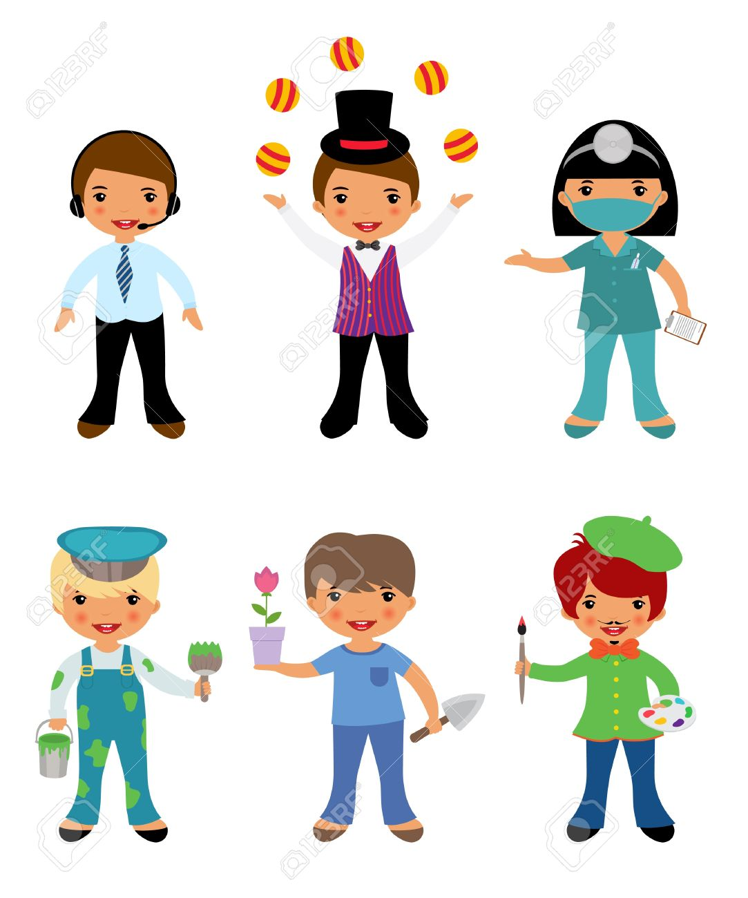 A cute set of kids dressed as professionals Stock Vector - 14891370
