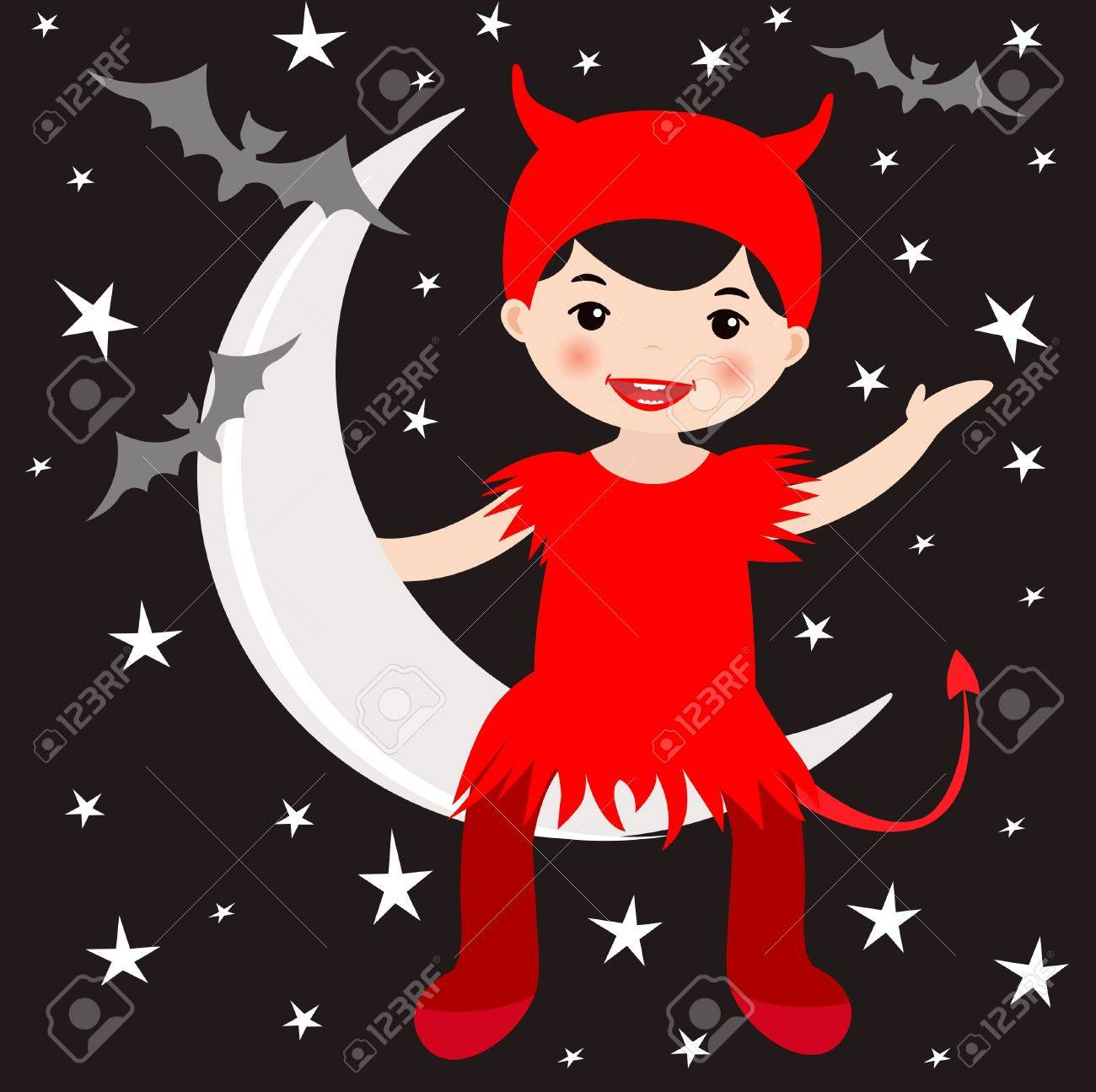 An illustration of a cute girl in devil costume sitting on the moon - 14973191