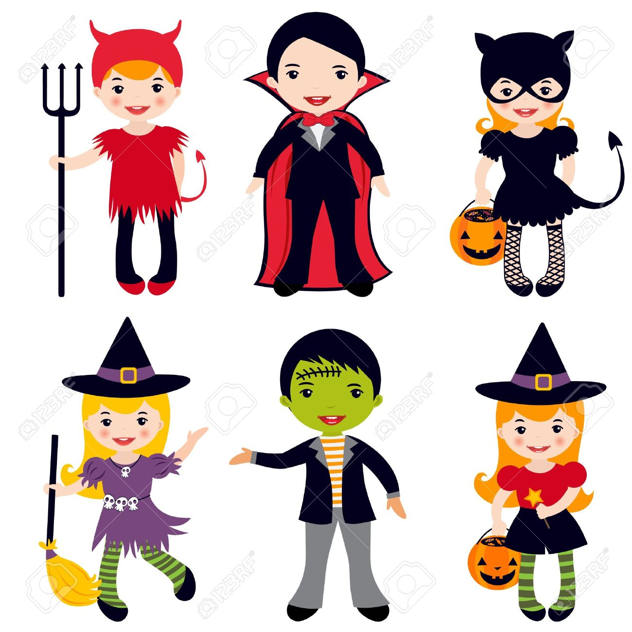 An Illustration Of Kids In Halloween Costumes Royalty Free ...