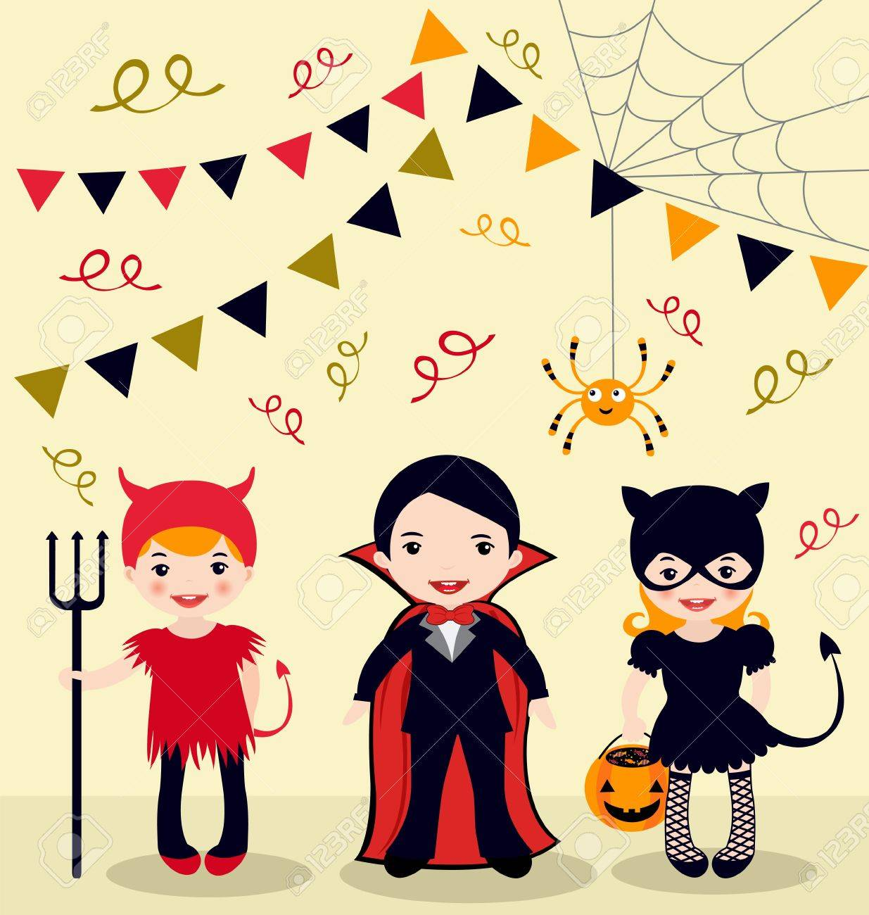An Illustration Of Halloween Party Kids Royalty Free Cliparts ...