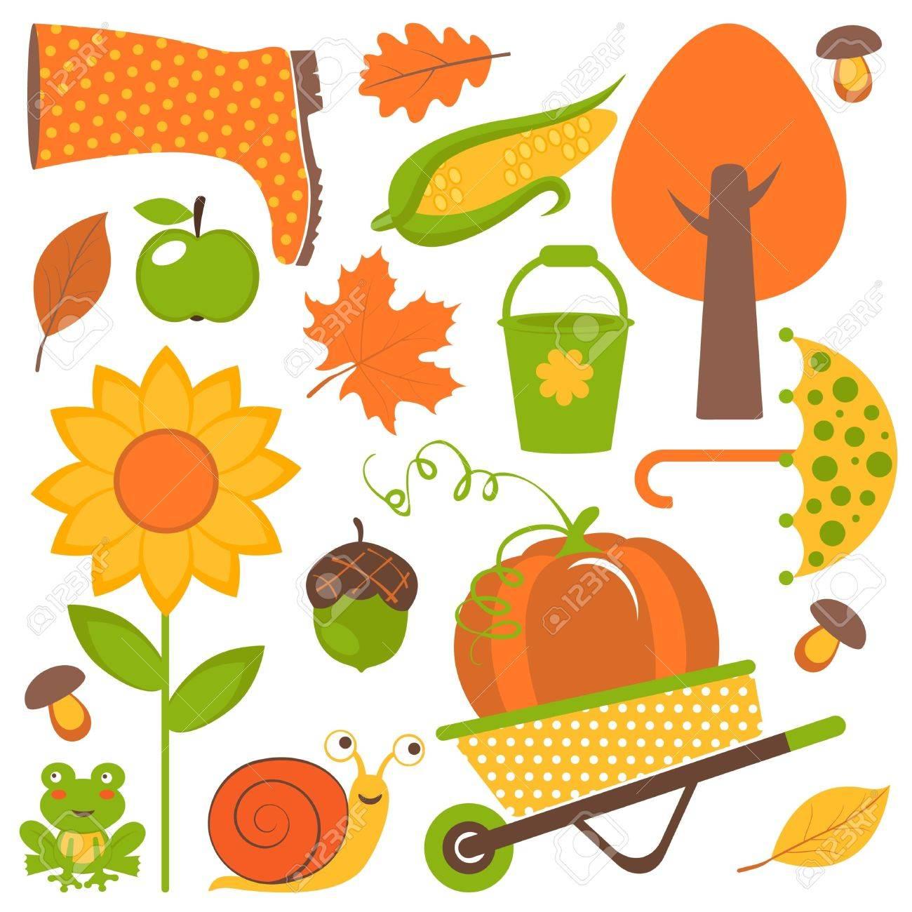 A colorful autumn set Stock Vector - 15491420
