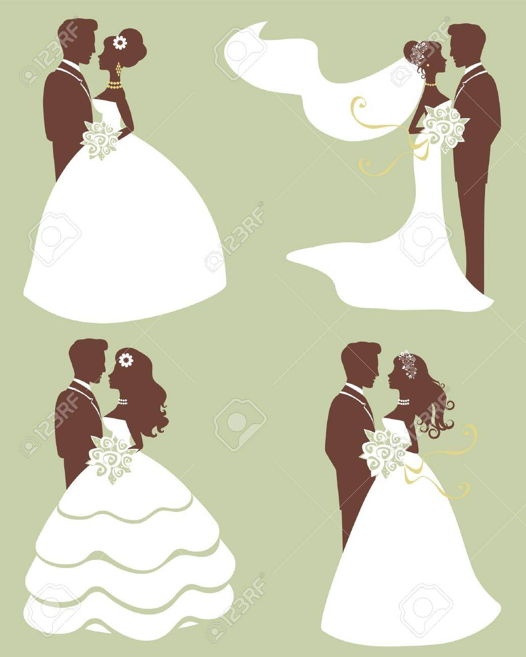 Four wedding couples in silhouette Stock Vector - 15329487