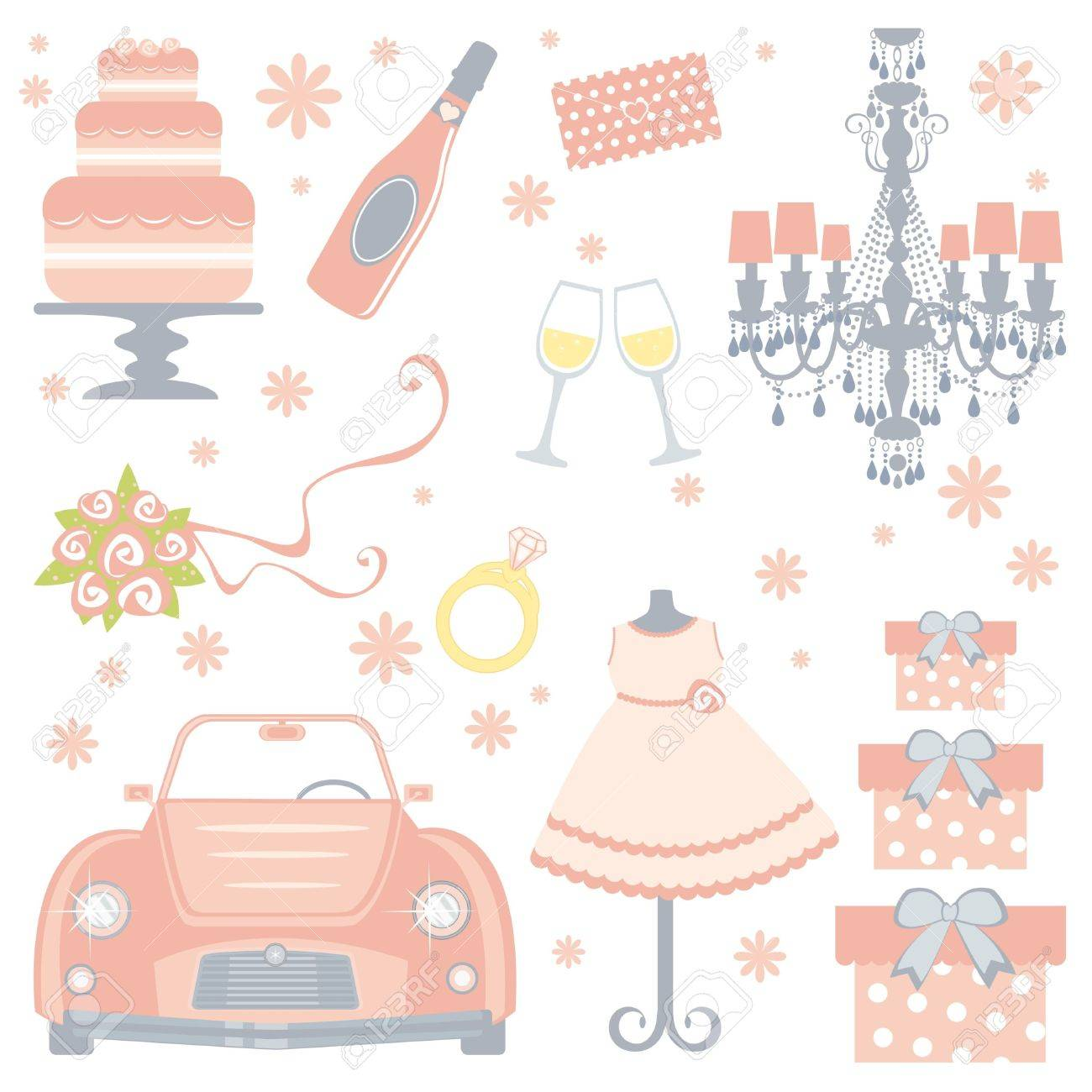 a cute collection of bridal shower icons stock vector 15329491