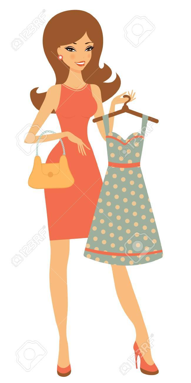 An illustration of a pretty woman shopping for a dress Stock Vector - 15329414