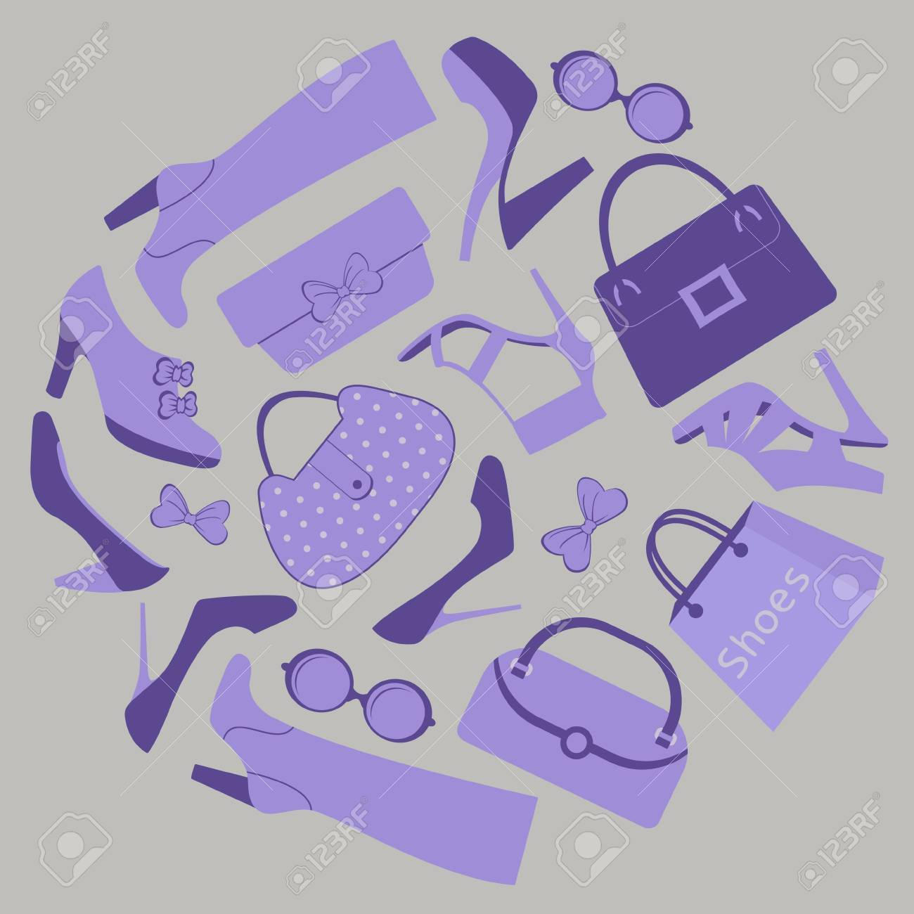 Composition with footwear, bags and purses Stock Vector - 15329413