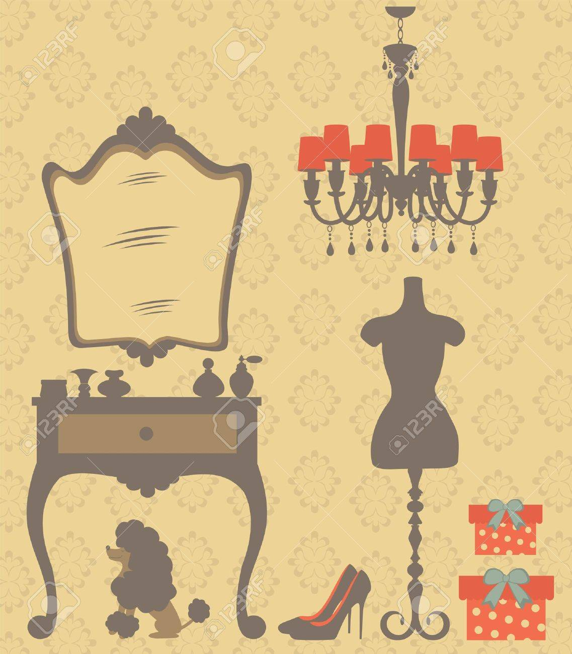An Illustration Of Vintage Style Dressing Room Stock Vector