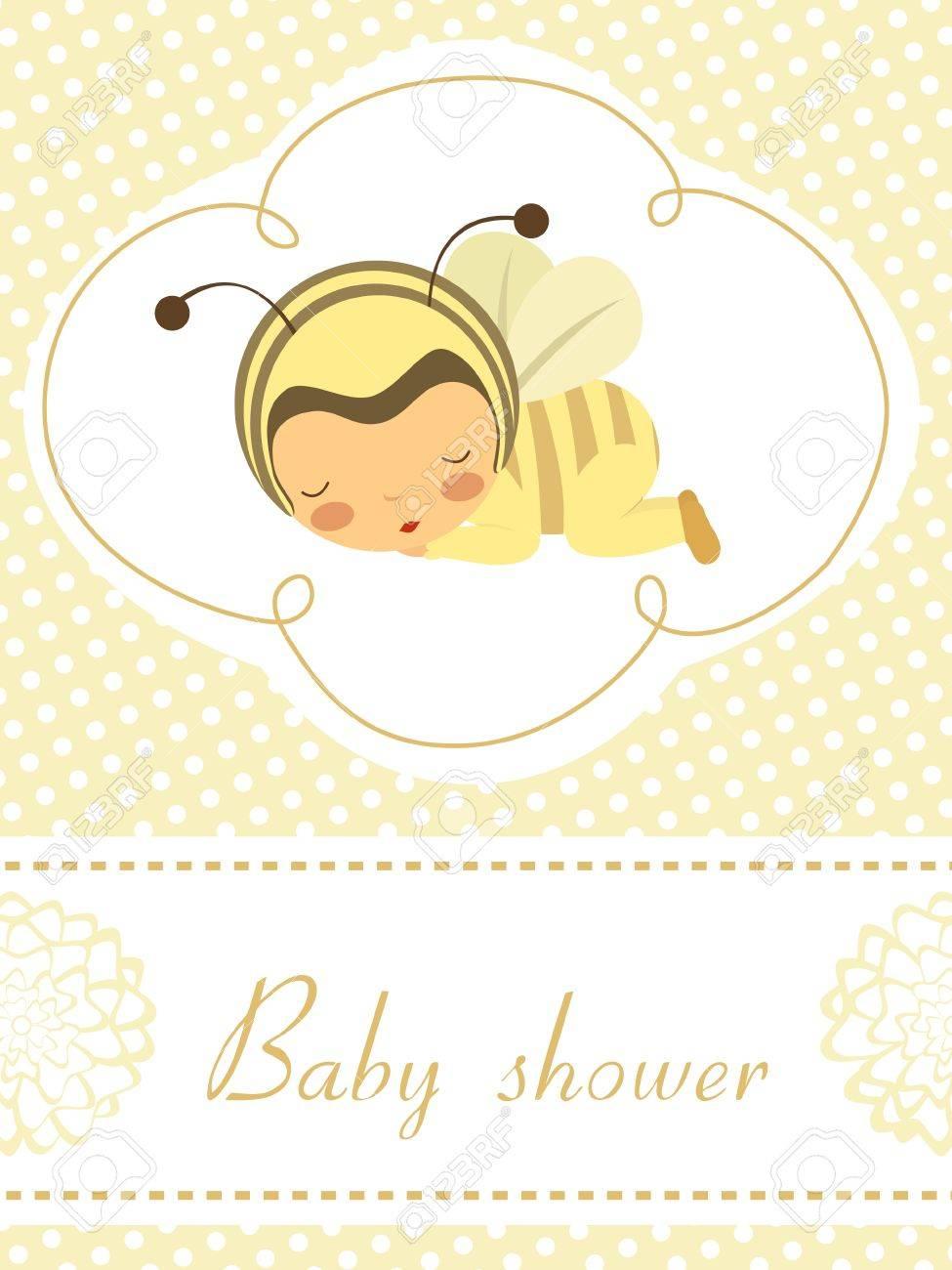 Elegant Baby announcement card with sleeping baby girl in bee costume Stock Vector - 16727981