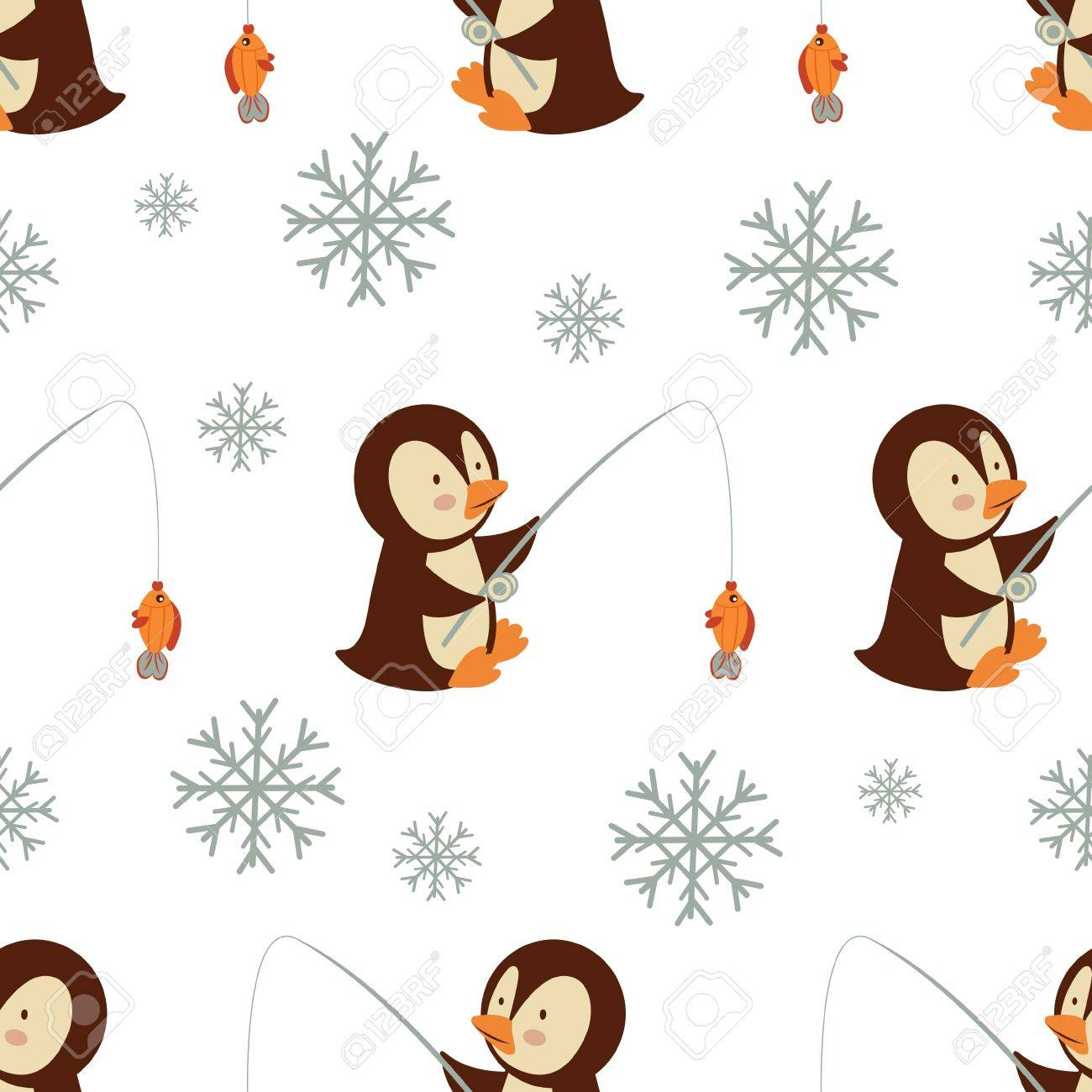 Cute fishing penguins  seamless pattern Stock Vector - 16728043
