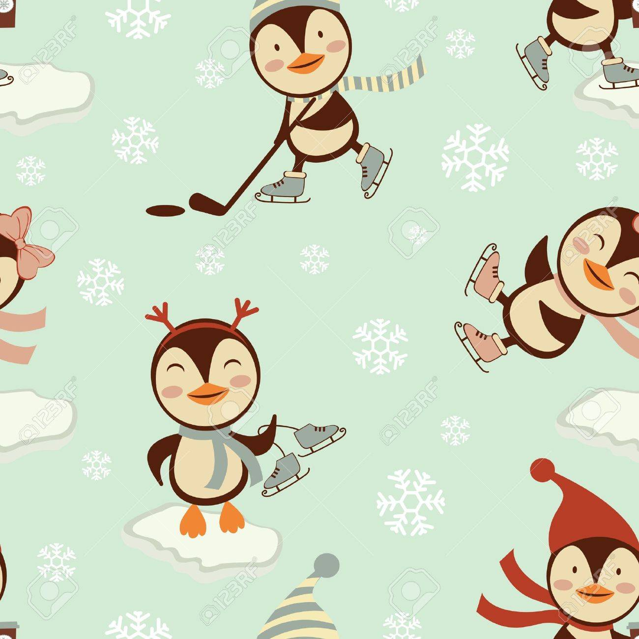 Funny penguins skating on ice seamless pattern Stock Vector - 16728016