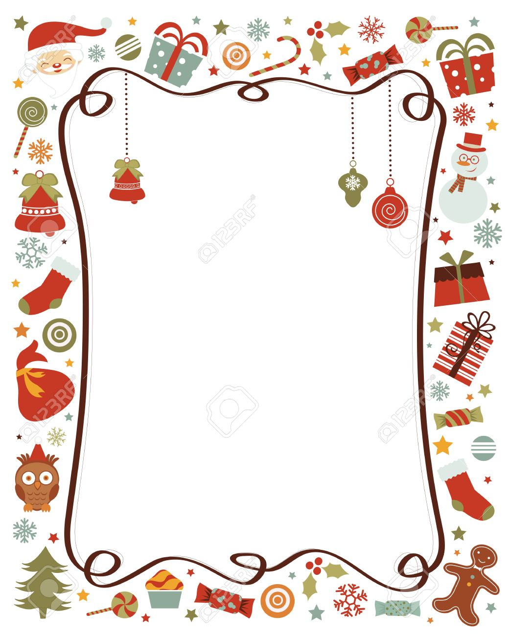 Une Bordure Coloree Avec Des Elements De Noel Divers Lies Clip Art Libres De Droits Vecteurs Et Illustration Image 16947824