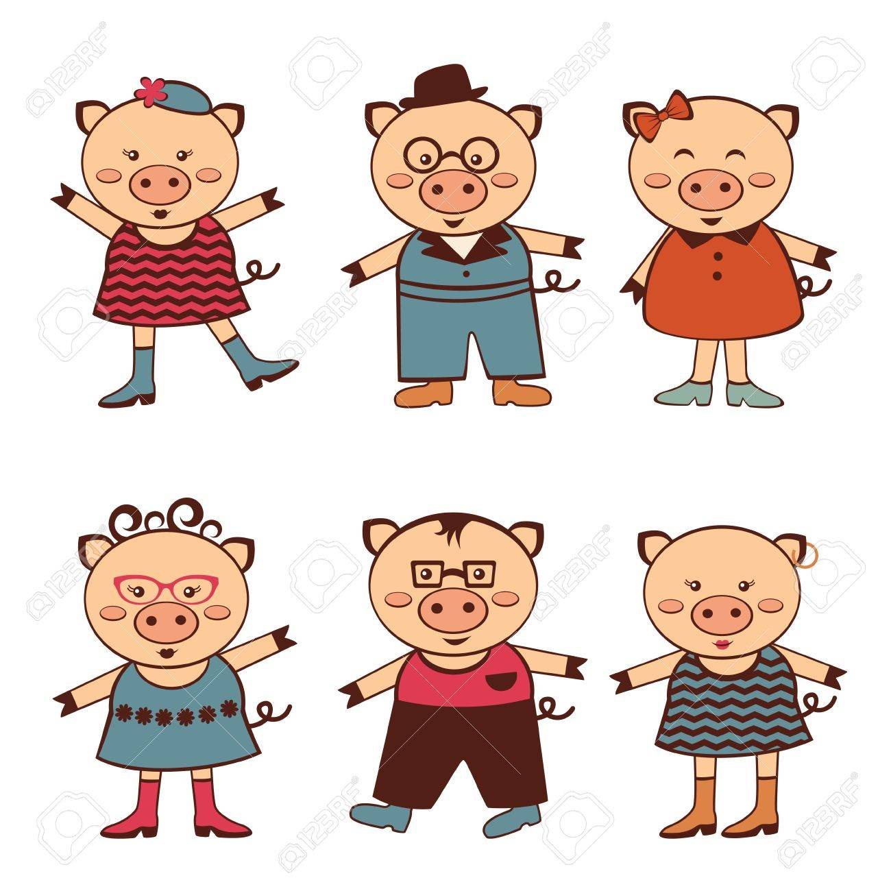 An illustration of cute pigs characters Stock Vector - 16980203