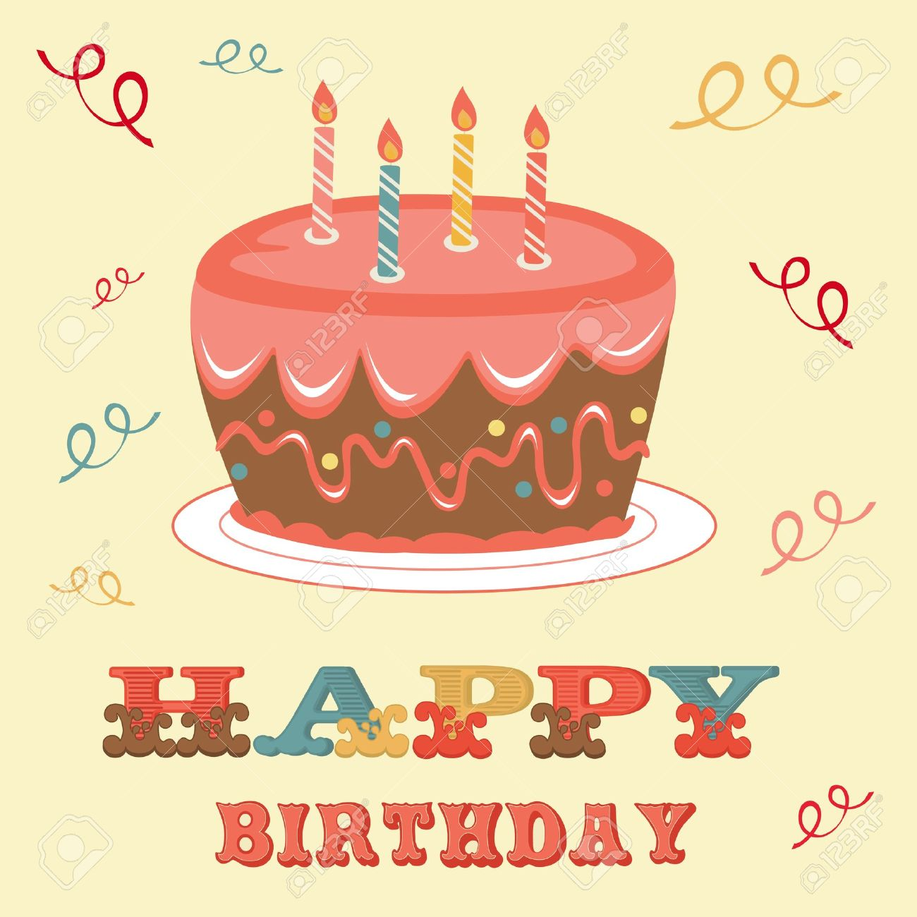An illustration of a Birthday card with cake Stock Vector - 17593809