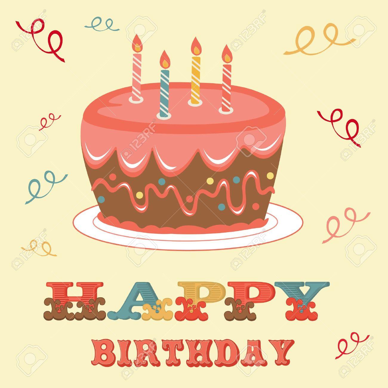 Ein Beispiel Für Eine Geburtstagskarte Mit Kuchen Lizenzfrei