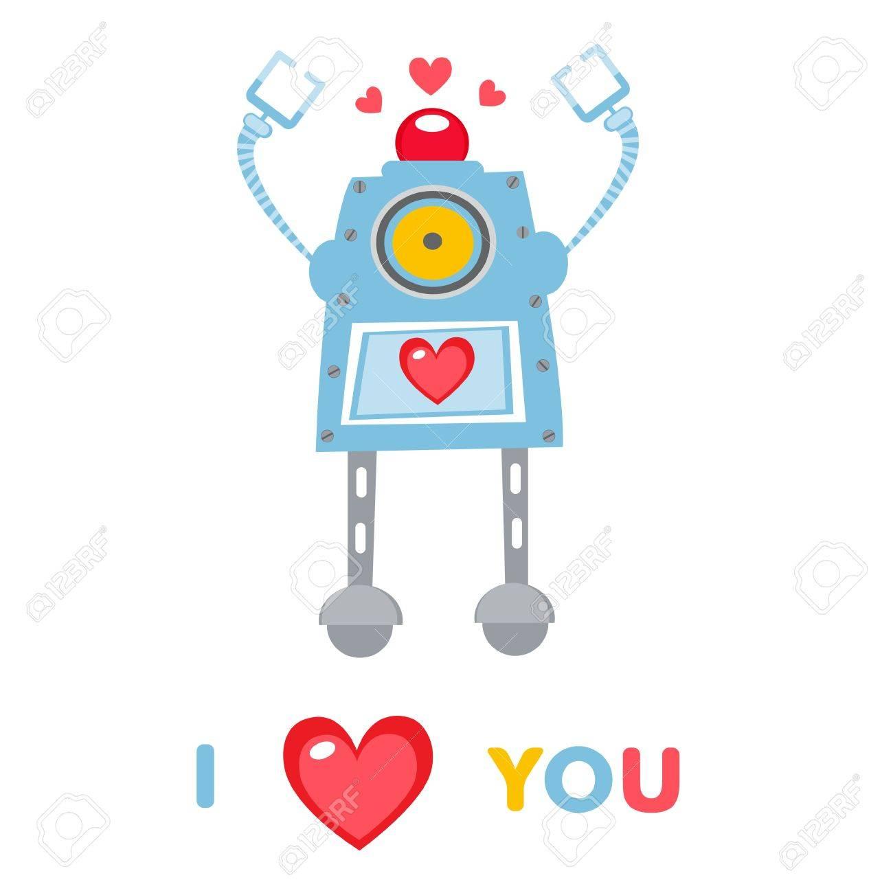 愛のかわいいロボットのイラストのイラスト素材ベクタ Image 17593772