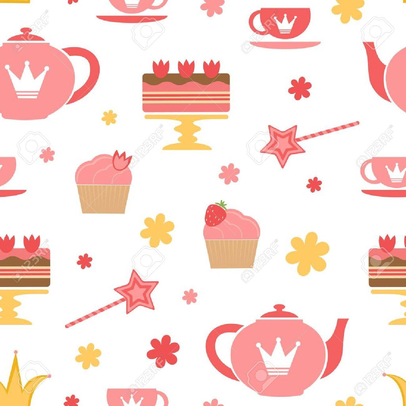 A cute royal tea party seamless pattern Stock Vector - 17593775