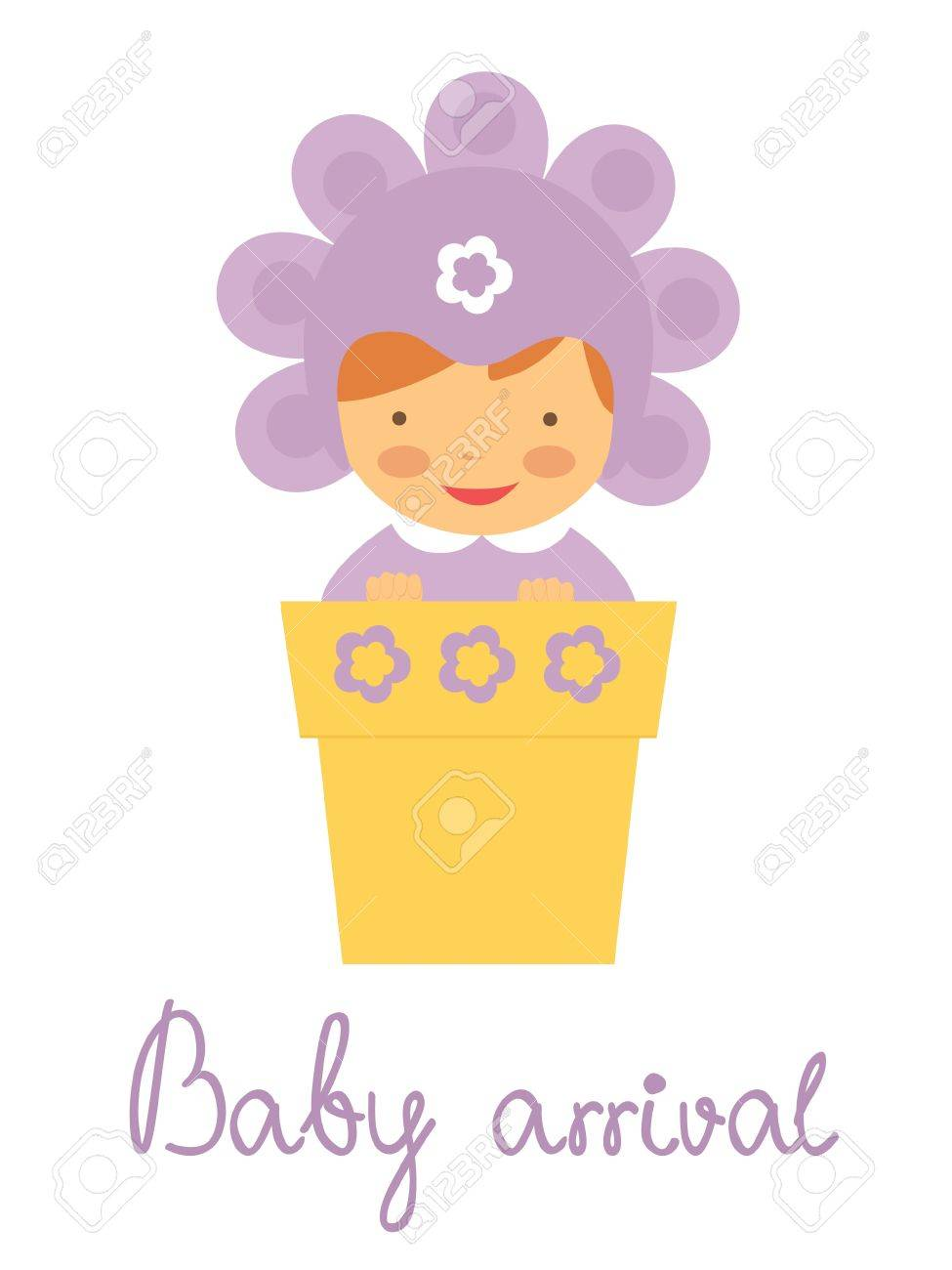 cute baby arrival announcement card with baby in flower pot royalty