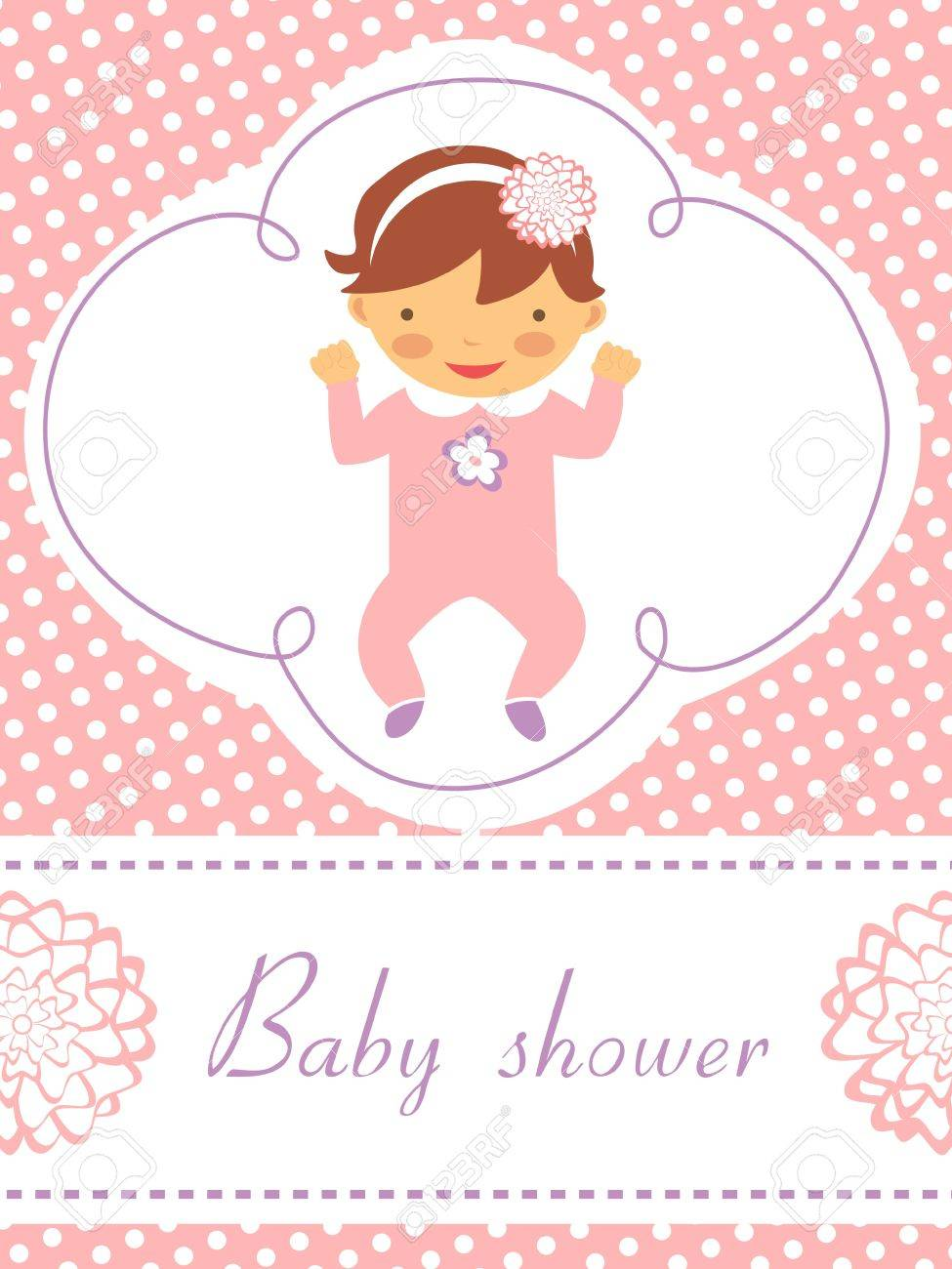 An elegant baby shower card with cute baby girl Stock Vector - 17710727