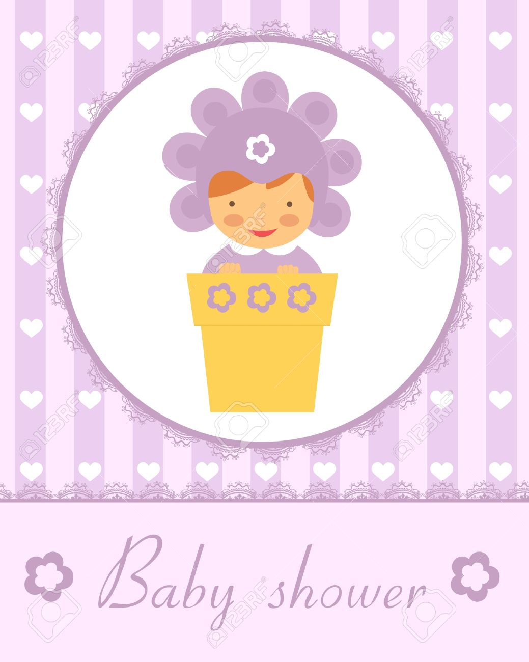 Cute baby in flower pot. New baby arrival card. Vector format. Stock Vector - 17710717
