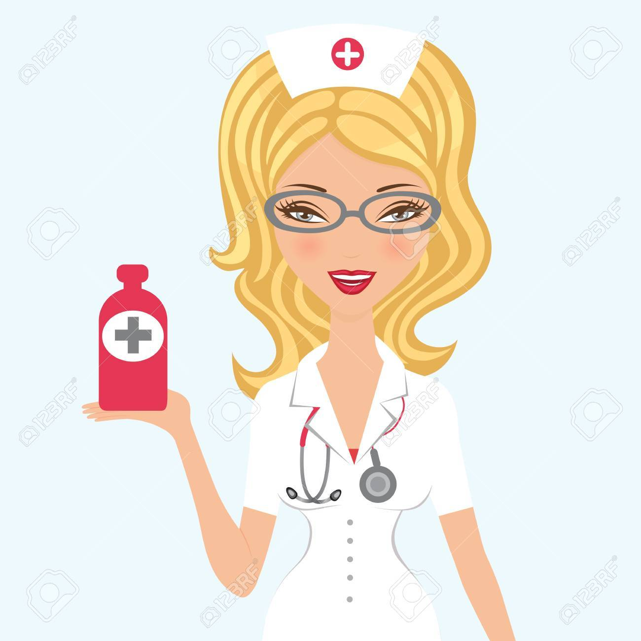 An illustration of a Beautiful doctor holding medicine Stock Vector - 17710688