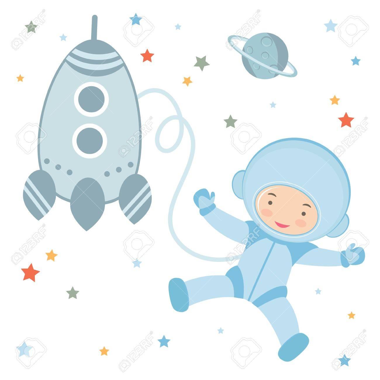 宇宙空間でかわいい小さな宇宙飛行士のイラストのイラスト素材ベクタ
