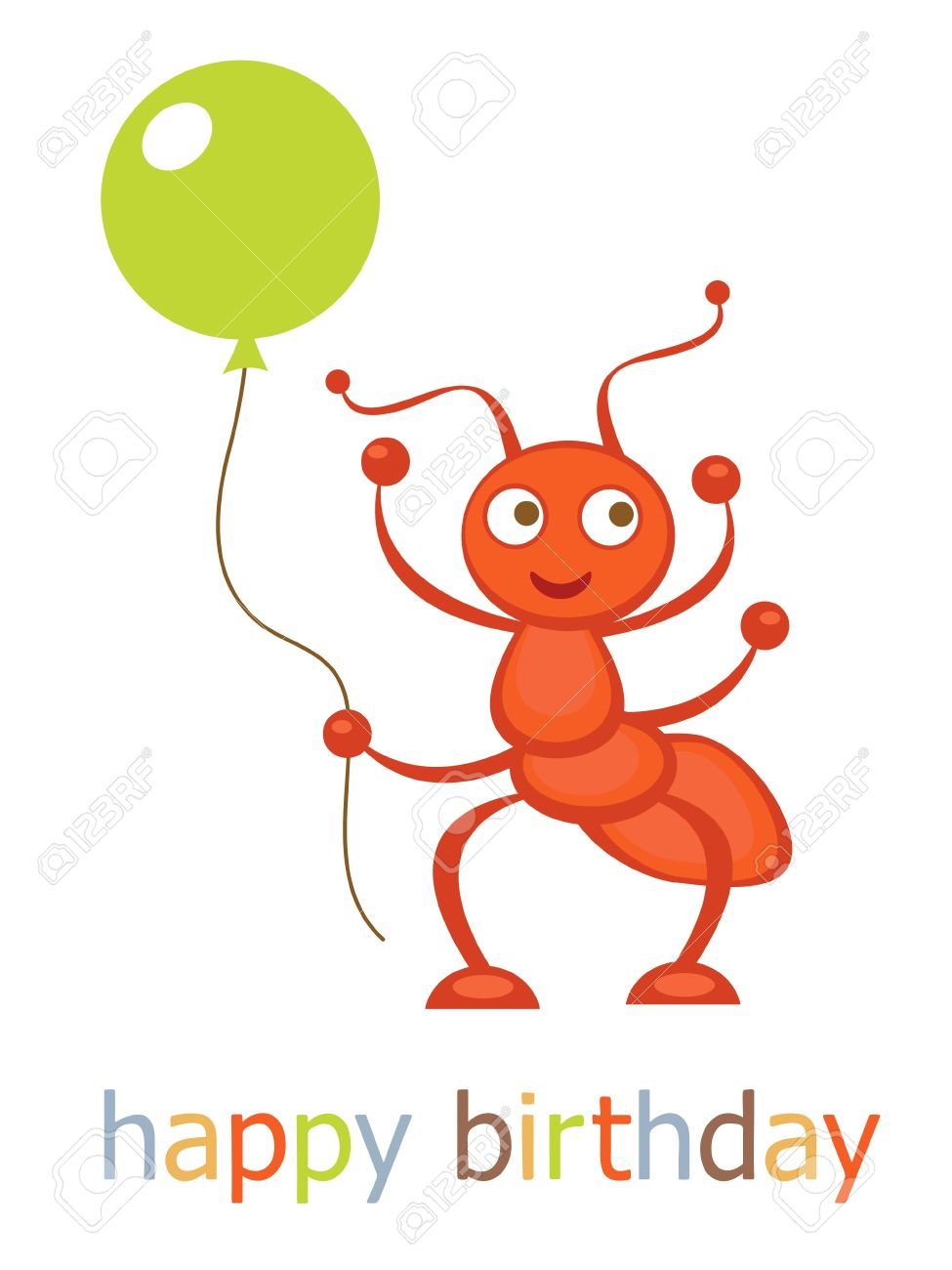 Happy birthday card with ant holding balloon Stock Vector - 17710665