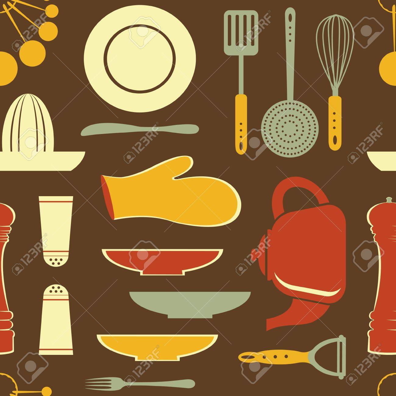 retro style kitchen pattern  vector format Stock Vector - 17710741