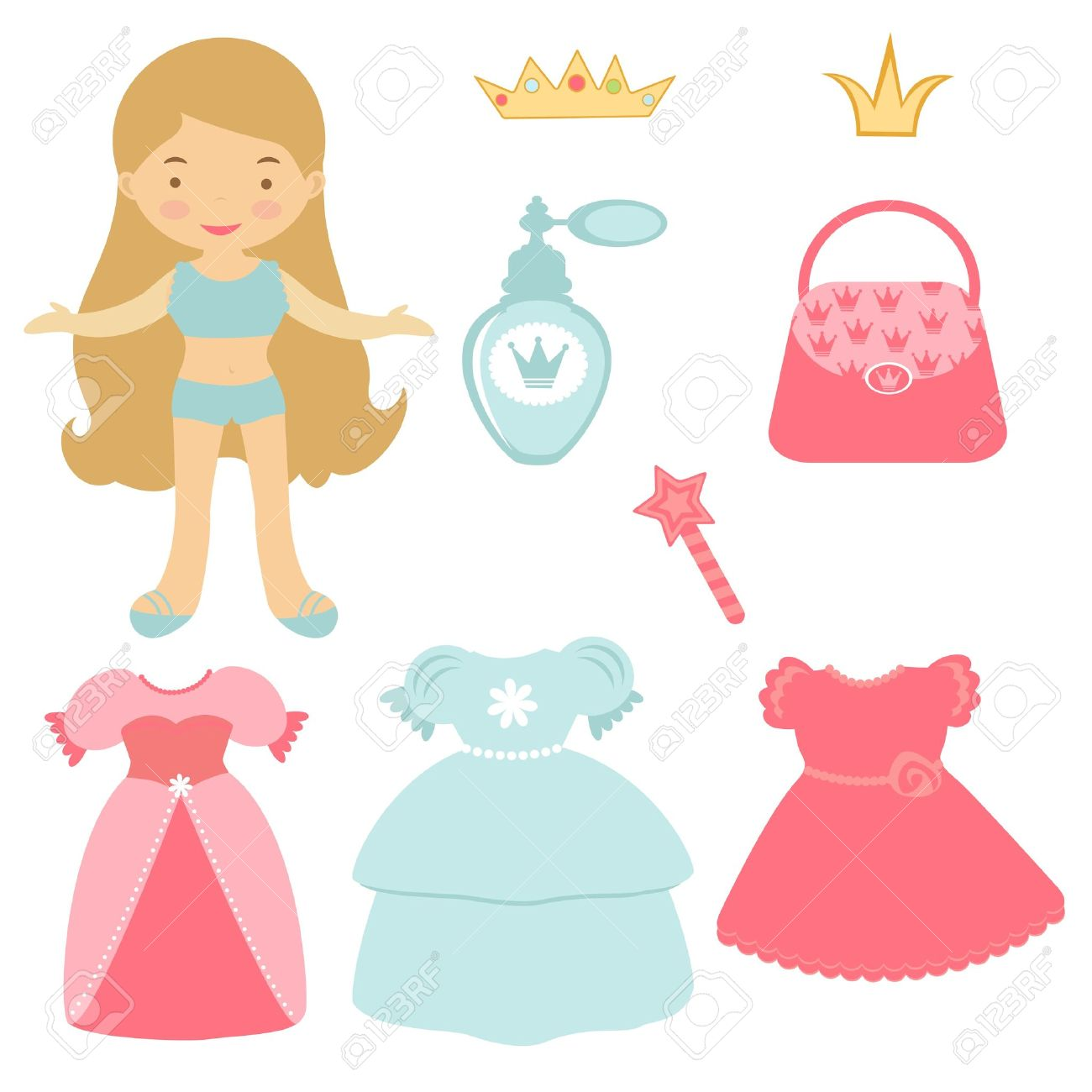 illustration of princess paper doll with various accessories royalty rh 123rf com paper doll clipart free paper doll clip art images