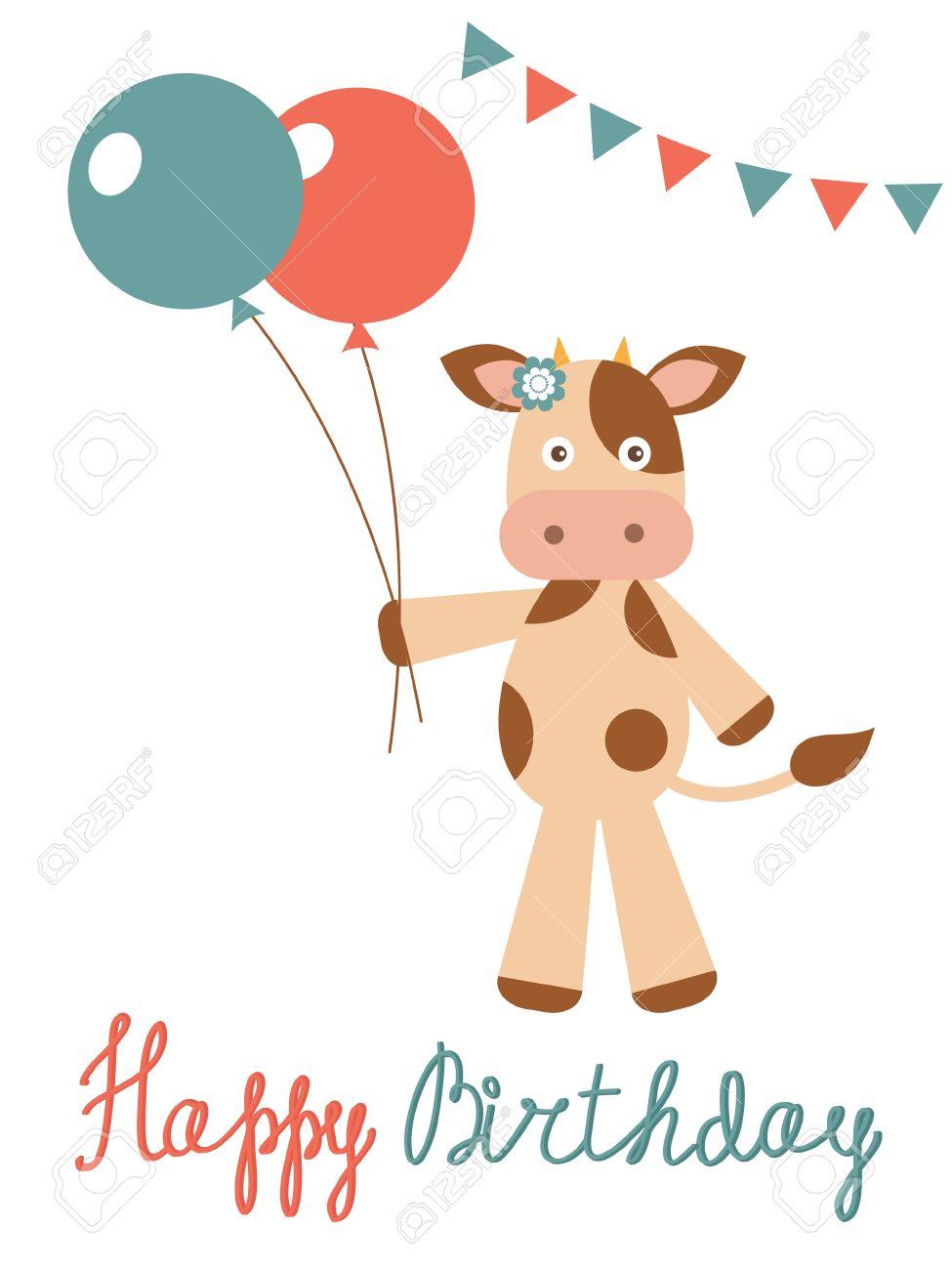 Carte anniversaire en vache