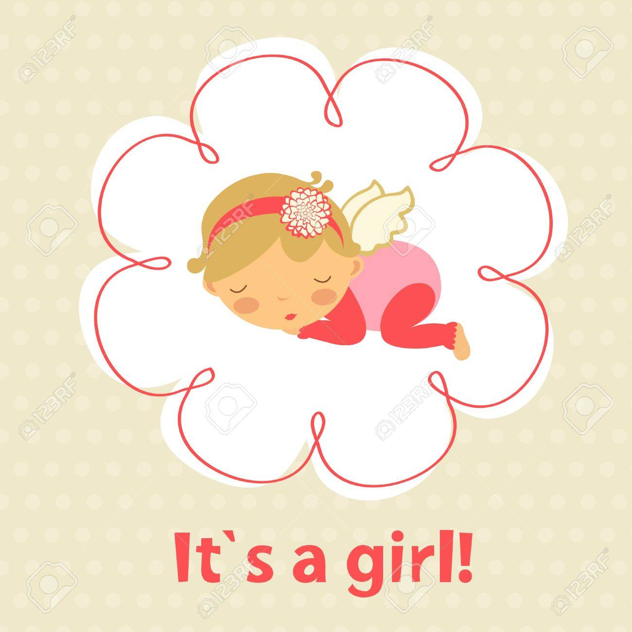 Baby girl announcement card with cute baby girl sleeping Stock Vector - 19876752