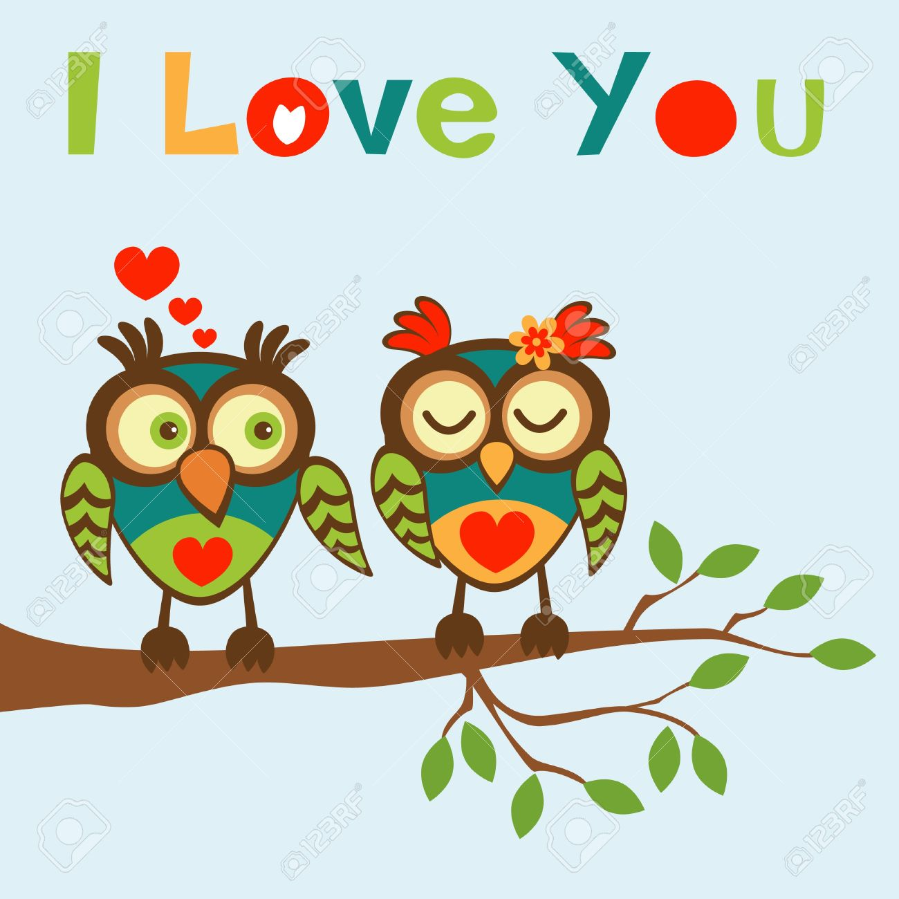 I love you card with two lovely owls Stock Vector - 19876599