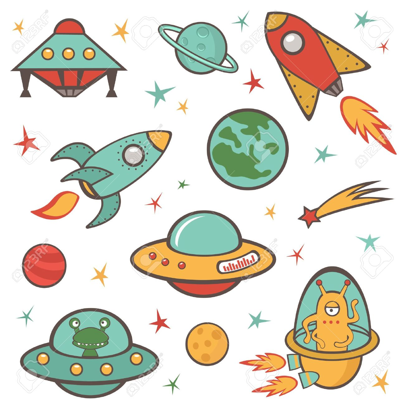 colorful outer space stickers collection royalty free cliparts rh 123rf com outer space clipart border outer space clipart black and white