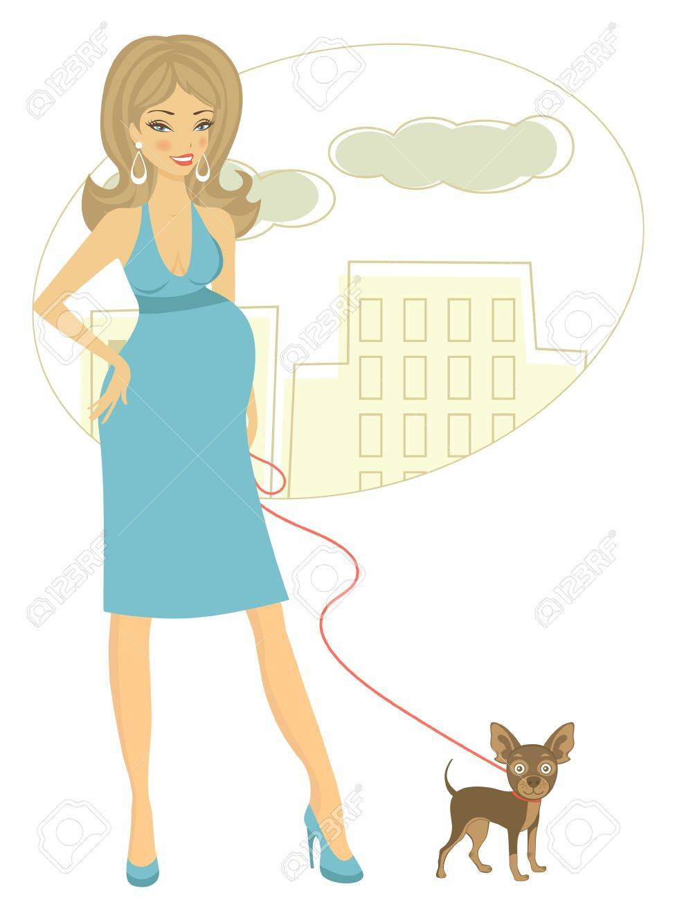 Illustration of Beautiful pregnant woman with little dog Stock Vector - 19876694