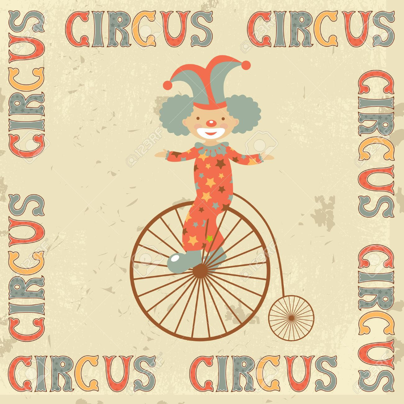 Retro circus poster with clown on retro bicycle Stock Vector - 19876806