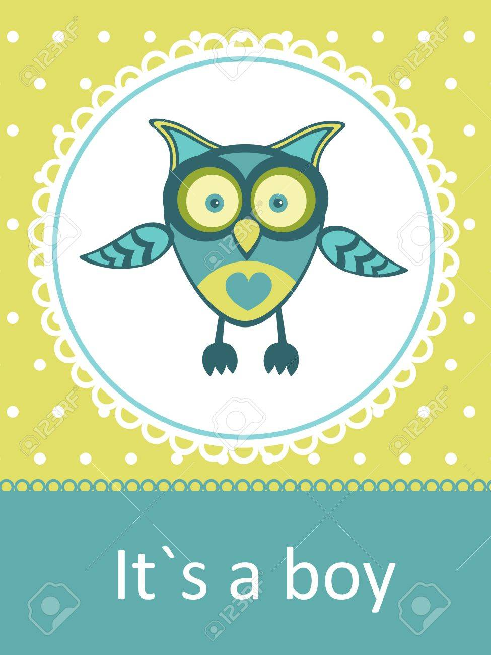 New Baby Announcement Card With Owl Stock Vector