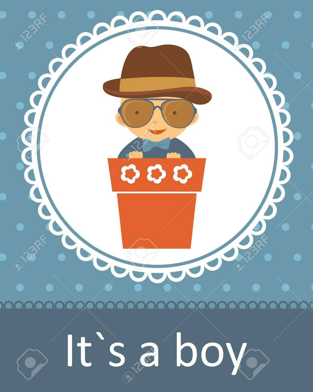 cute baby arrival announcement card with baby boy in flower pot