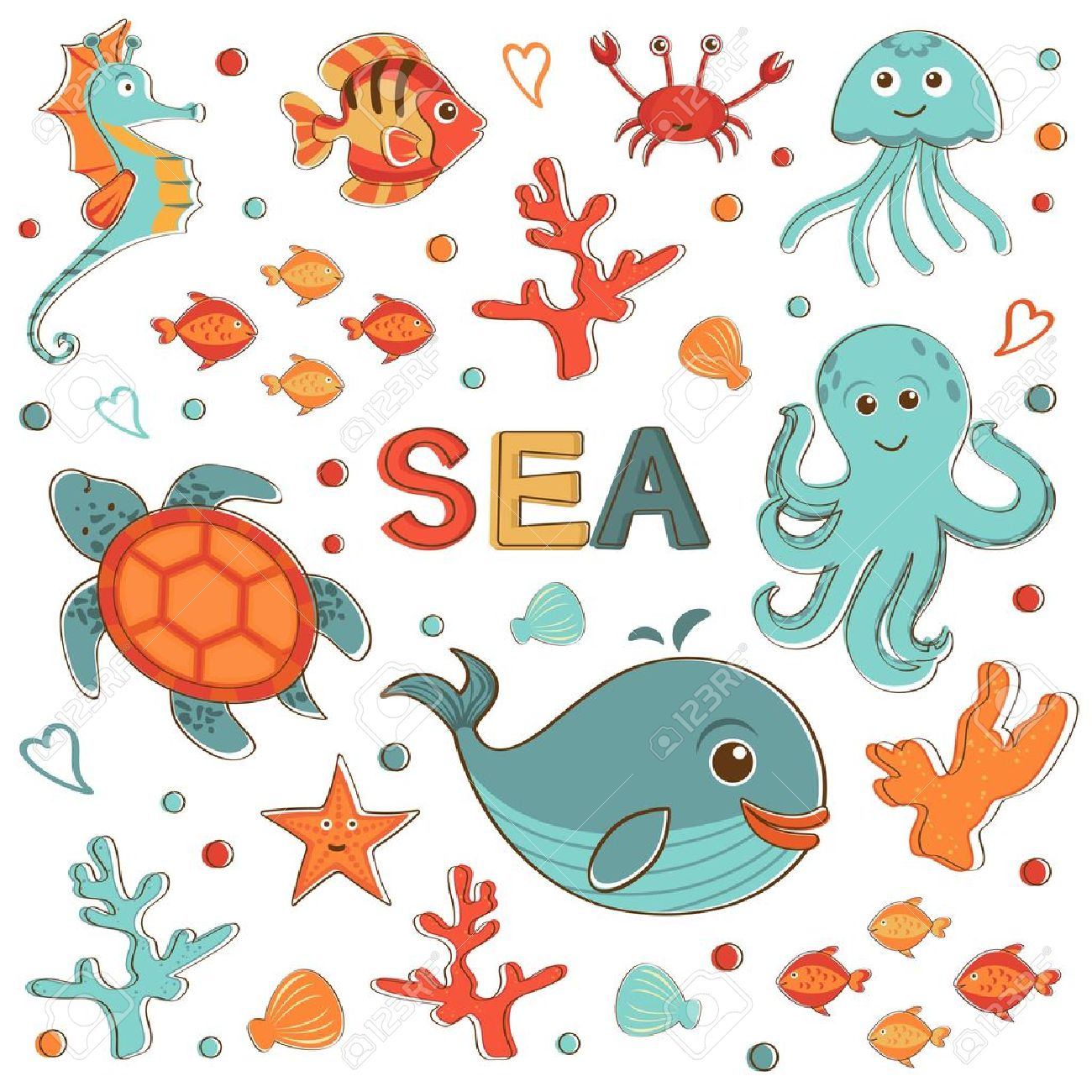 cute sea creatures collection format royalty free cliparts