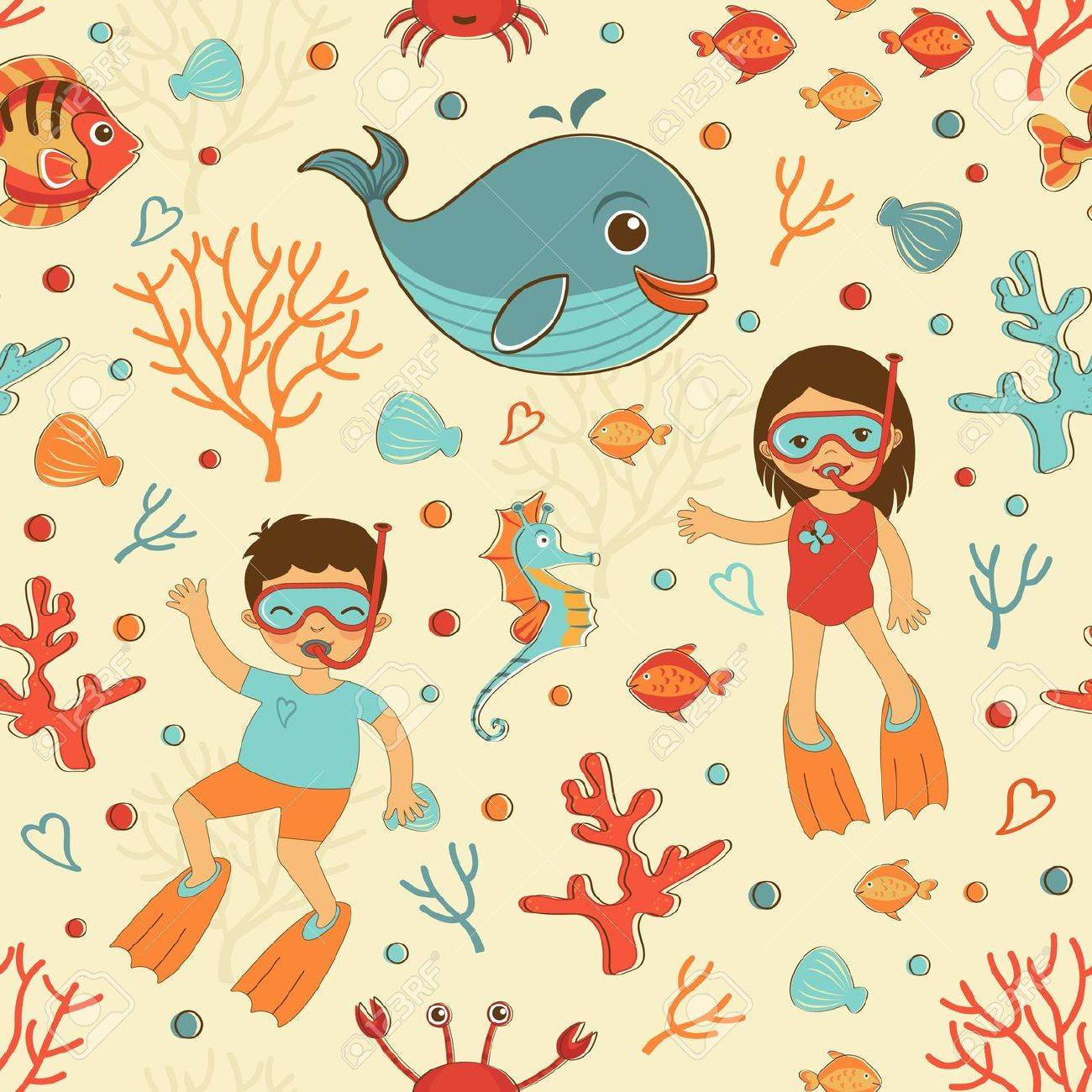 cute seamless sea pattern with diving kids and sea creatures