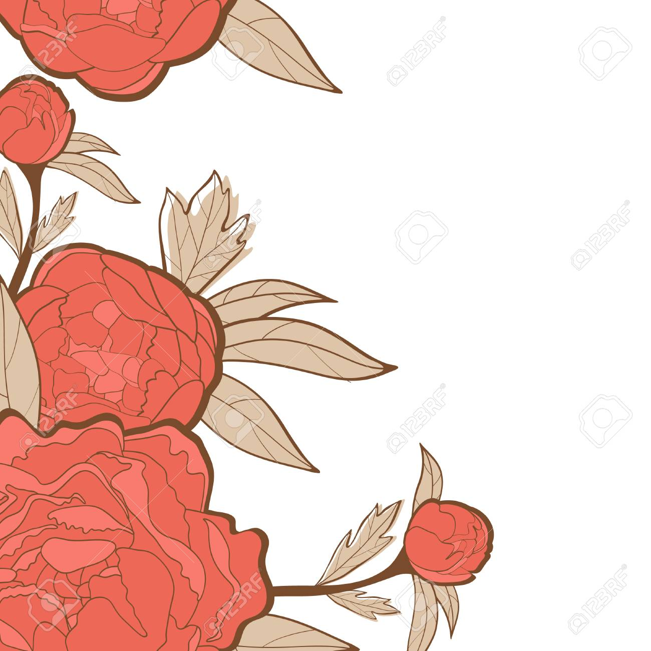 Beautiful card with peonies Stock Vector - 22711810