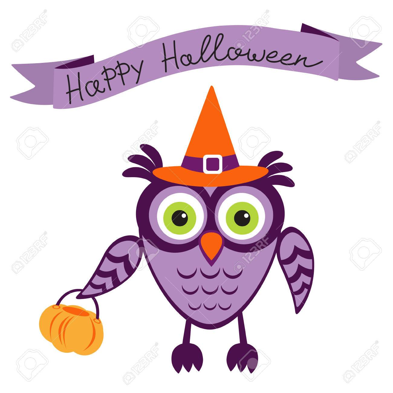 An Illustration Of Cute Halloween Owl Stock Vector