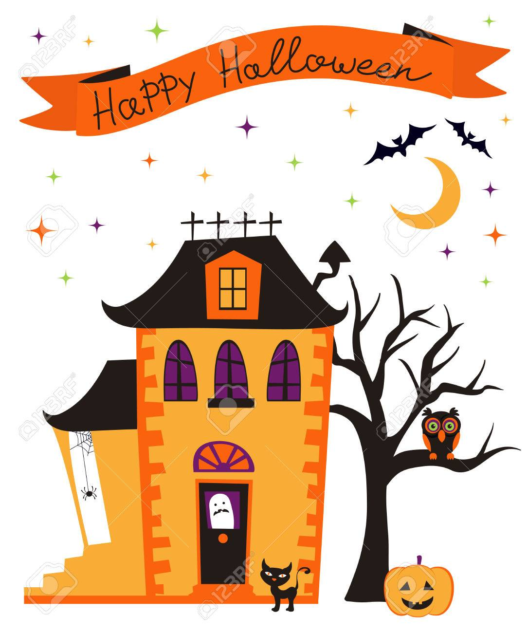 Happy Halloween Card With Haunted House Royalty Free Cliparts