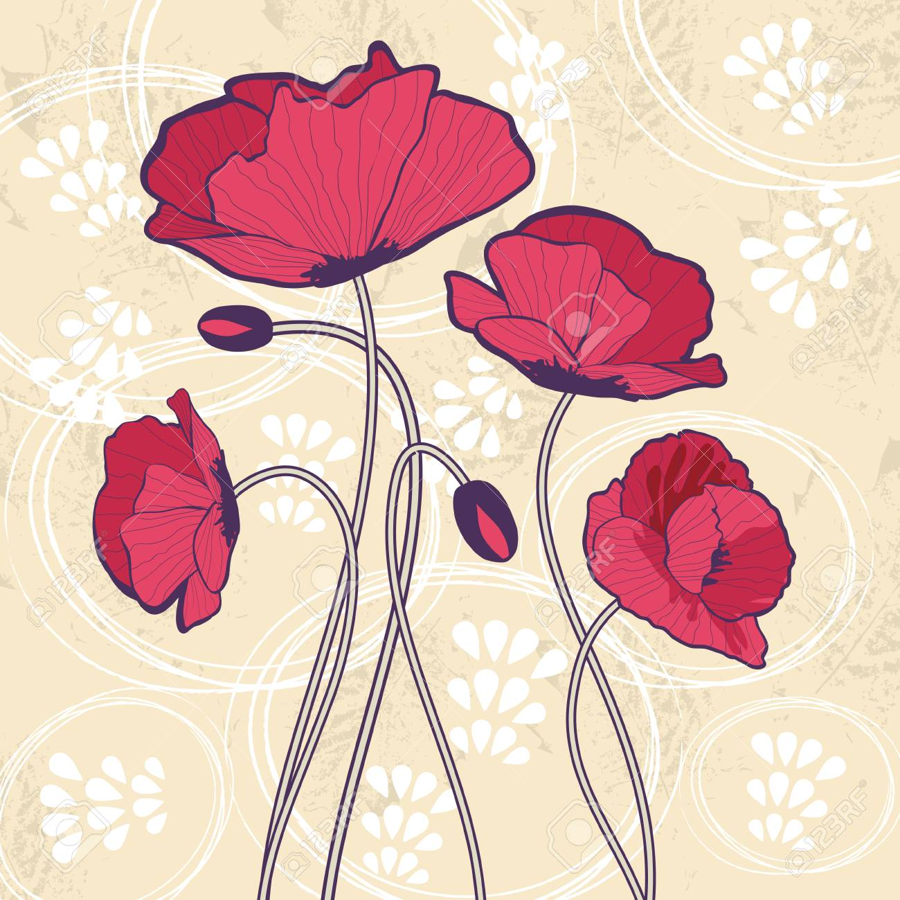 Beautiful card with poppies Stock Vector - 22711935