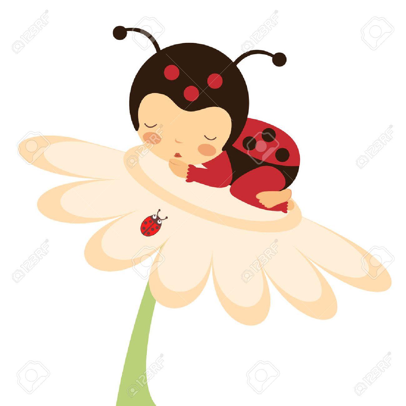 Illustration of adorable baby ladybug sleeping - 22711952
