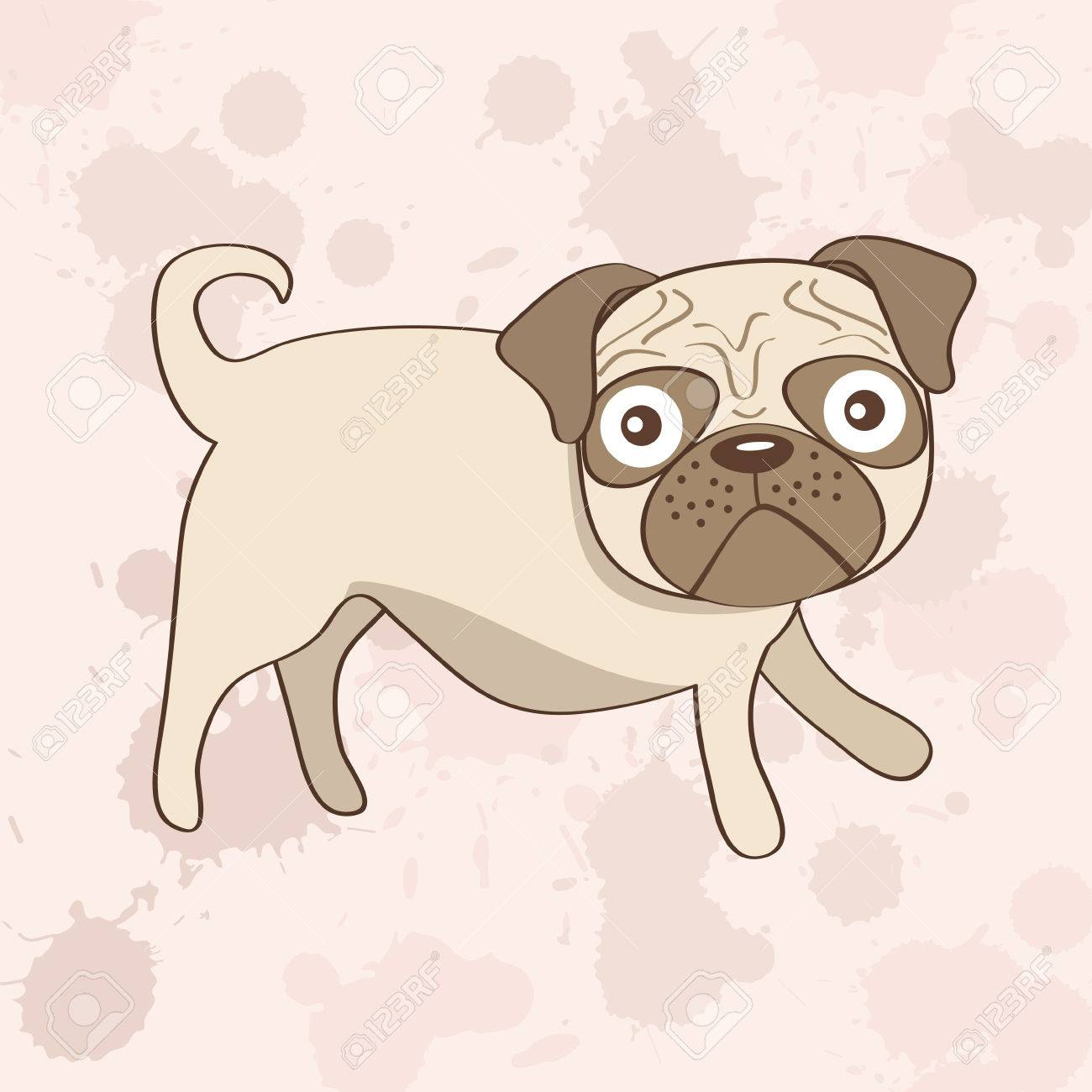 可愛いパグ犬イラストのイラスト素材ベクタ Image 23762665