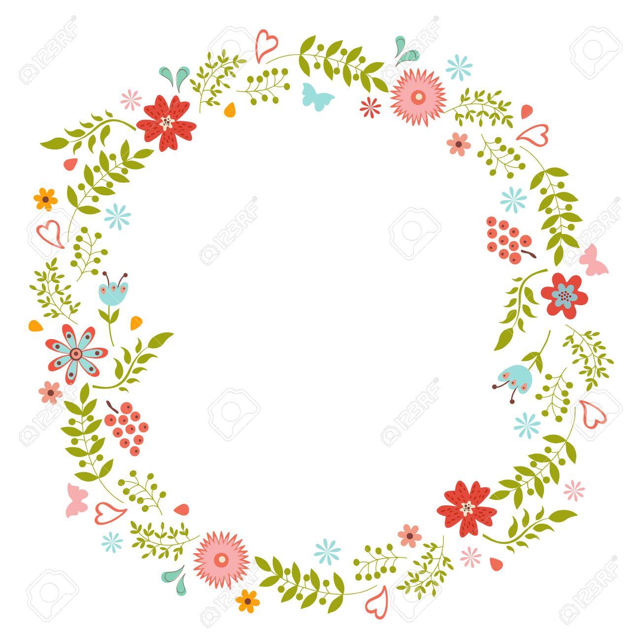 Elegante Blumenkranz Ideal Fur Hochzeitskarten Und