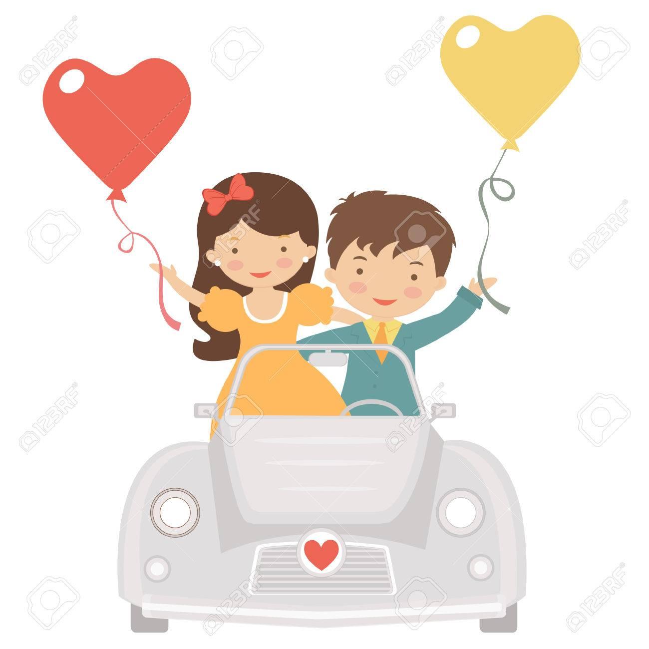 かわいいカップルをバレンタインの日に運転のイラスト ロイヤリティ