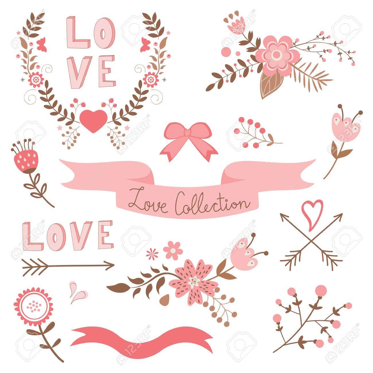 Elegante Coleccion De Amor Cintas Flores Corazones Flechas