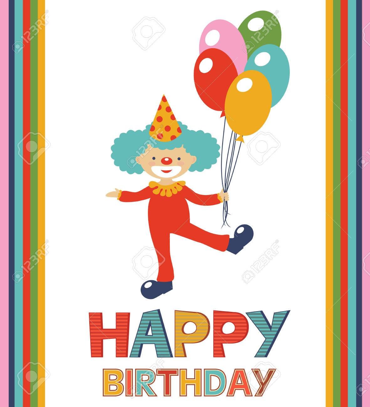 Birthday Card With Happy Clown Royalty Free Cliparts Vectors And – Clown Birthday Cards