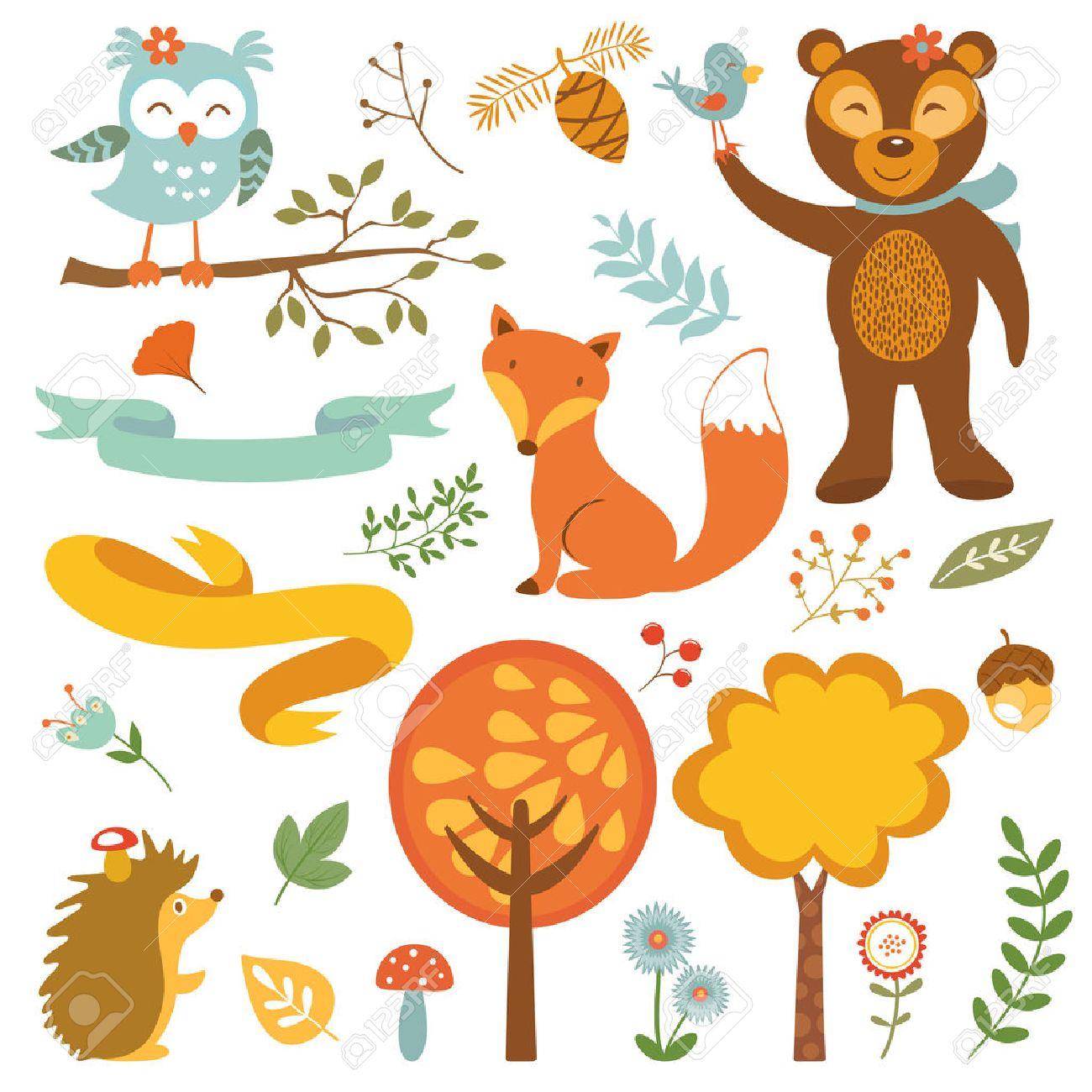 かわいい森の動物のカラフルなコレクション。ベクトル イラスト