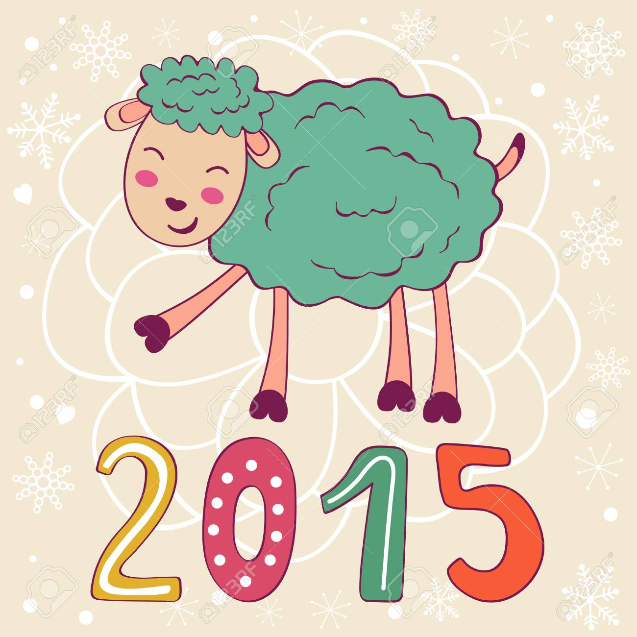 面白い羊はかわいいと 2015年カードベクトル イラストのイラスト素材