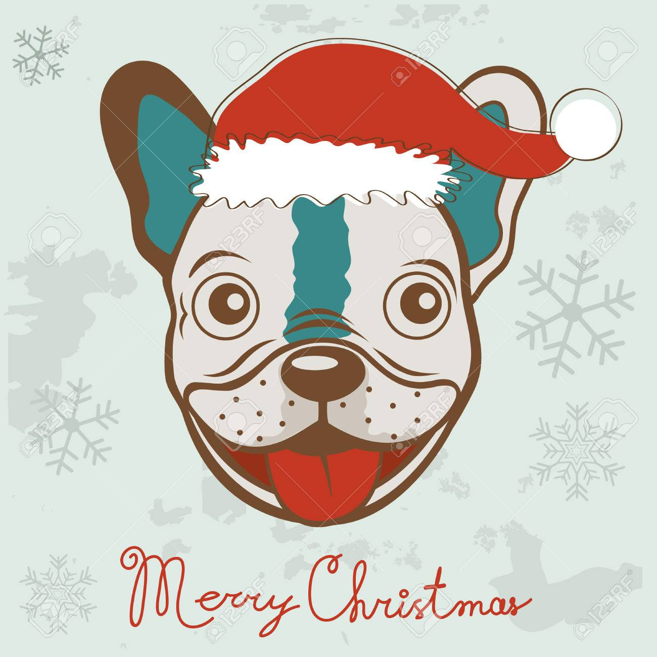 Christmas Card With French Bulldog In Santa Hat. Vector Illustration ...